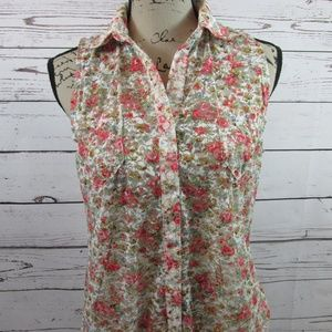 Zenana Outfitters Sleeveless Lace sheer top floral